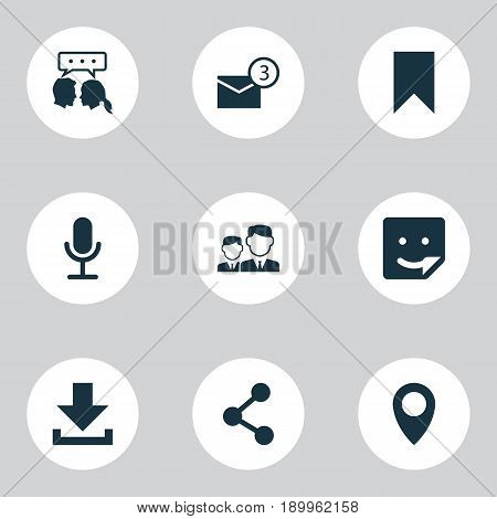 Social Icons Set. Collection Of Flag, Publish, Partnership And Other Elements. Also Includes Symbols Such As Location, Microphone, Point.