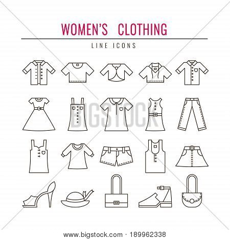 Women's clothing outline icons set. Design elements for Websites Banners Infographic Illustrations Posters Labels. Vector line style illustration.