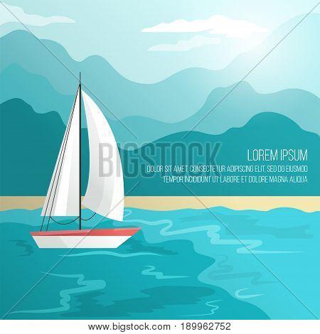 Boat on beach Vector illustration Sailing boat is sailing along the seashore