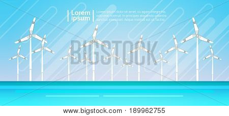 Wind Turbine Energy Renewable Water Station Sea Background Flat Vector Illustration