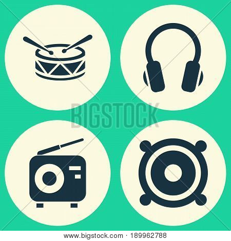Audio Icons Set. Collection Of Earphone, Barrel, Tuner And Other Elements. Also Includes Symbols Such As Barrel, Loudspeaker, Speaker.