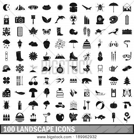 100 landscape icons set in simple style for any design vector illustration