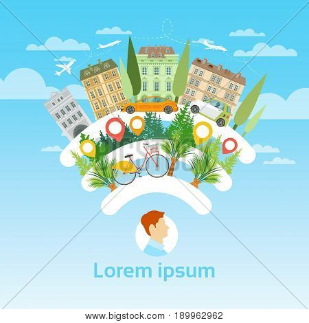 Man Tourist Destination Summer Vacation Tourism Concept Flat Vector Illustration