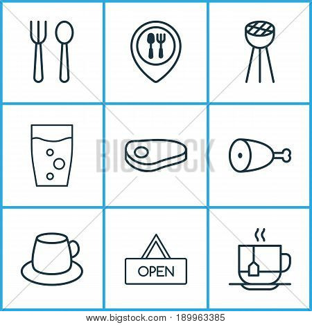 Restaurant Icons Set. Collection Of Coffee Cup, Food Mapping, Board And Other Elements. Also Includes Symbols Such As Water, Coffee, Meat.