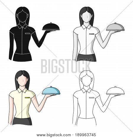 The waitress.Professions single icon in cartoon style vector symbol stock illustration .