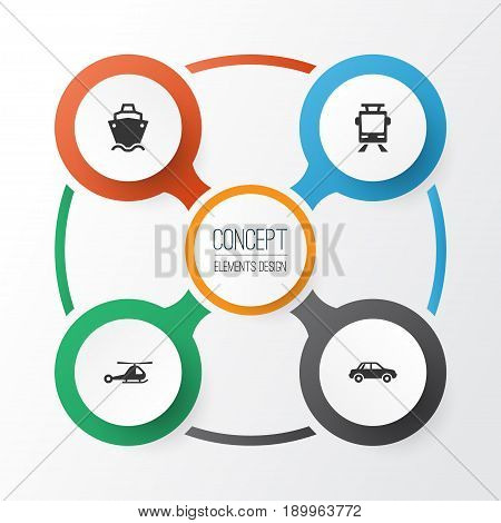 Transport Icons Set. Collection Of Chopper, Tanker, Streetcar And Other Elements. Also Includes Symbols Such As Tanker, Cargo, Car.