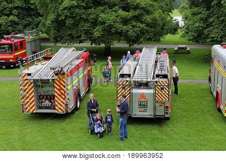 Beaulieu, Hampshire, Uk - May 29 2017: Visitors And Fire Engines At The 2017 999 Show At The Nationa