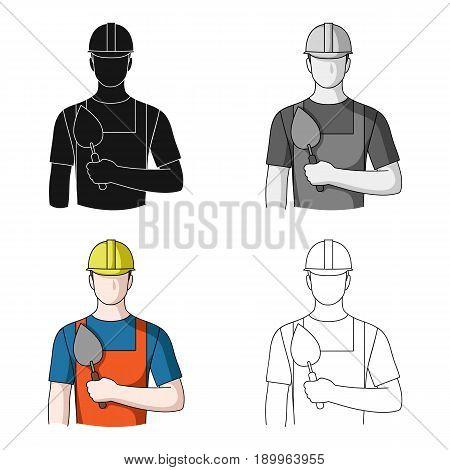 Builder mason.Professions single icon in cartoon style vector symbol stock illustration .