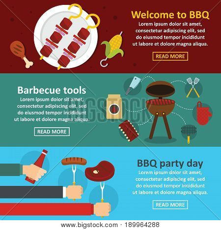 Barbecue party banner horizontal concept set. Flat illustration of 3 barbecue party vector banner horizontal concepts for web