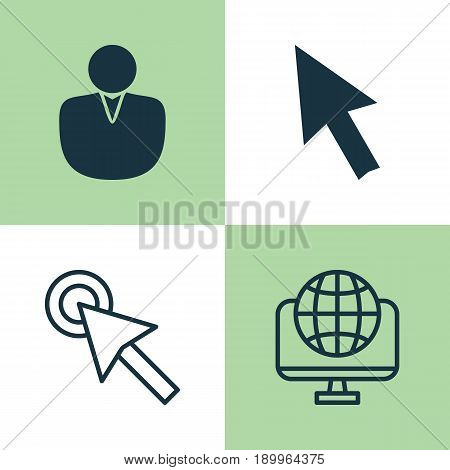 Connection Icons Set. Collection Of Computer Network, Cursor Tap, Account And Other Elements. Also Includes Symbols Such As Account, Cursor, Tap.