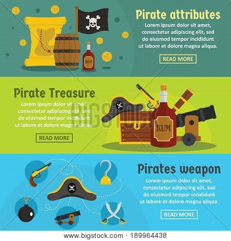 Pirate attribute banner horizontal concept set. Flat illustration of 3 pirate attribute vector banner horizontal concepts for web