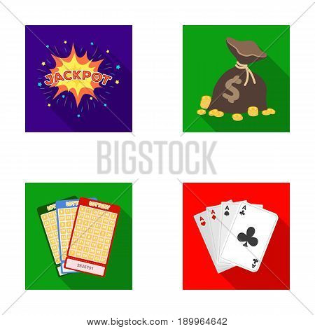 Jack sweat, a bag with money won, cards for playing Bingo, playing cards. Casino and gambling set collection icons in flat style vector symbol stock illustration .