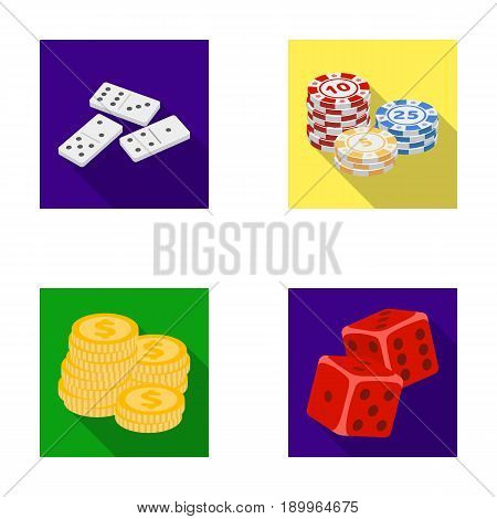 Domino bones, stack of chips, a pile of mont, playing blocks. Casino and gambling set collection icons in flat style vector symbol stock illustration .