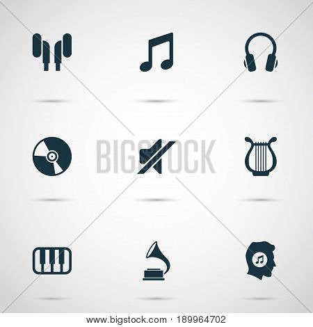 Music Icons Set. Collection Of Phonograph, Meloman, Silence And Other Elements. Also Includes Symbols Such As Music, Sound, Note.