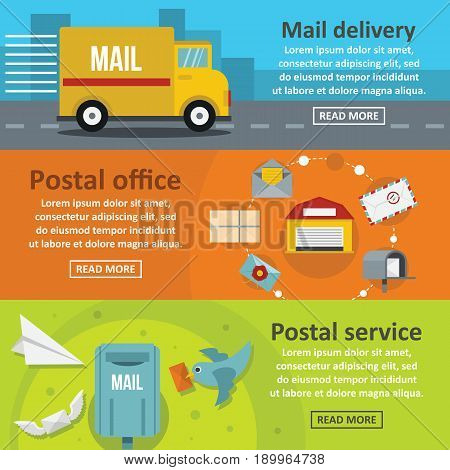 Postal delivery banner horizontal concept set. Flat illustration of 3 postal delivery vector banner horizontal concepts for web