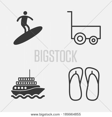 Tourism Icons Set. Collection Of Boardsports, Slipper, Freight Trolley And Other Elements. Also Includes Symbols Such As Yacht, Trolley, Slipper.