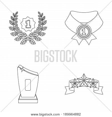 Winner for the first place in the competition, a crystal prize, a ribbon with the stars, a medal on the red ribbon.Awards and trophies set collection icons in outline style vector symbol stock illustration .