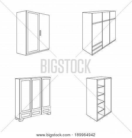 Wardrobe with mirror, wardrobe, shelving with mezzanines. Bedroom furniture set collection icons in outline style vector symbol stock illustration .