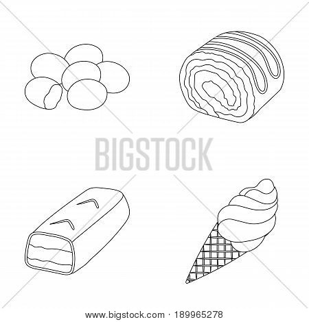 Dragee, roll, chocolate bar, ice cream. Chocolate desserts set collection icons in outline style vector symbol stock illustration .