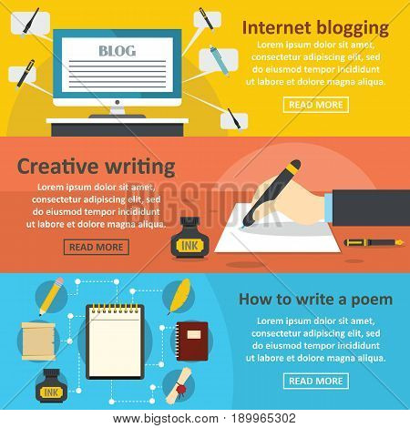 Blogging write banner horizontal concept set. Flat illustration of 3 blogging write vector banner horizontal concepts for web