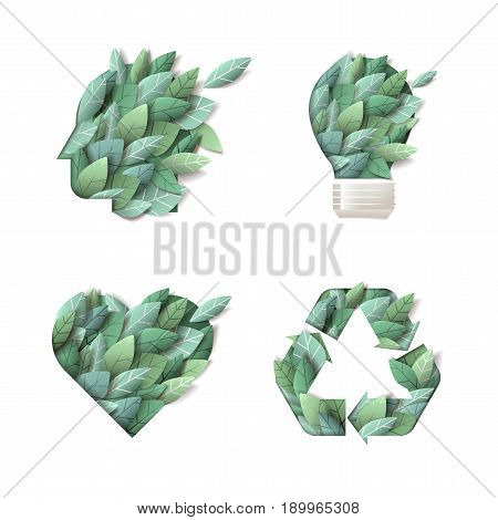 Set of nature concept icons. Vector illustration for ecology, environment, recycling, renewable energy, green technology, natural products.