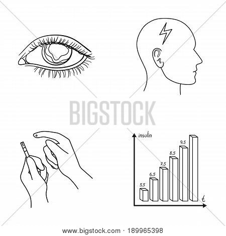 Poor vision, headache, glucose test, insulin dependence. Diabetic set collection icons in outline style vector symbol stock illustration .