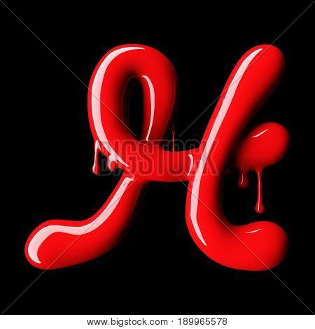Glossy red letter H uppercase. 3D rendering font with glint on black background.