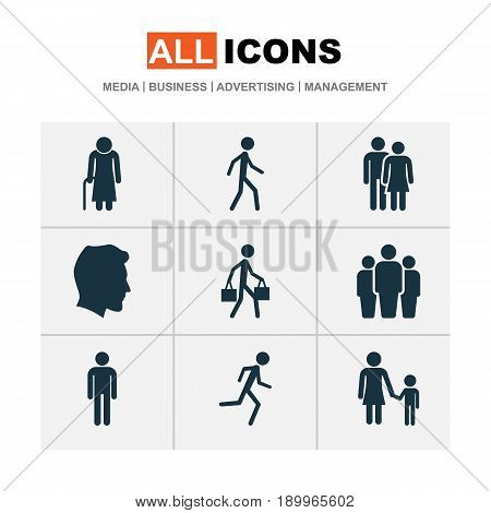 People Icons Set. Collection Of Group, Gentleman, Jogging And Other Elements. Also Includes Symbols Such As Unity, Delivery, Old.