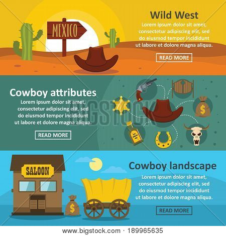 Wild west banner horizontal concept set. Flat illustration of 3 wild west vector banner horizontal concepts for web