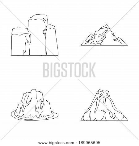 Sheer cliffs, a volcanic eruption, a mountain with a beach, a glacier. Different mountains set collection icons in outline style vector symbol stock illustration .