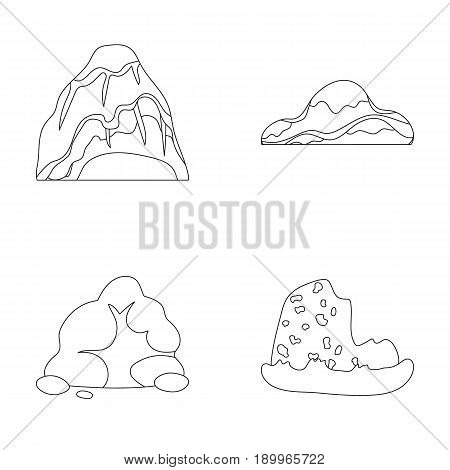 Boulders, a rounded mountain, rocks in the sea. Different mountains set collection icons in outline style vector symbol stock illustration .