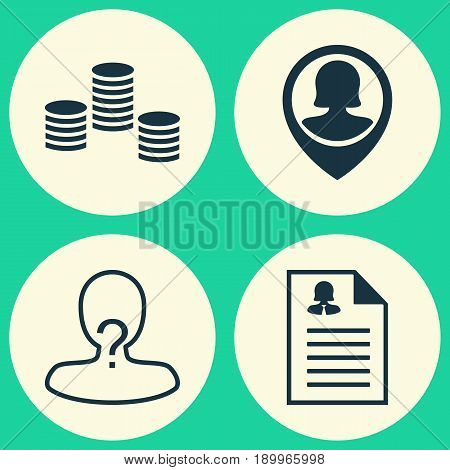 Management Icons Set. Collection Of Anonymous, Pin Employee, Female Application And Other Elements. Also Includes Symbols Such As Vacancy, Money, Anonymous.