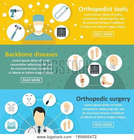 Orthopedist care banner horizontal concept set. Flat illustration of 3 orthopedist care vector banner horizontal concepts for web