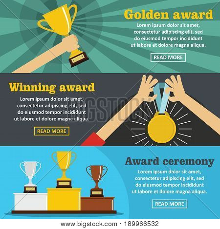 Winning award banner horizontal concept set. Flat illustration of 3 winning award vector banner horizontal concepts for web