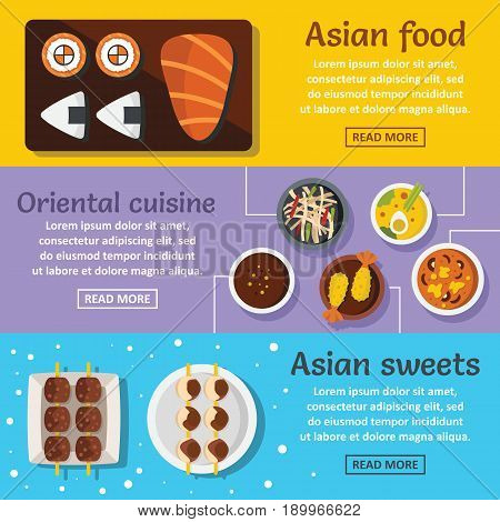 Asian food banner horizontal concept set. Flat illustration of 3 asian food vector banner horizontal concepts for web