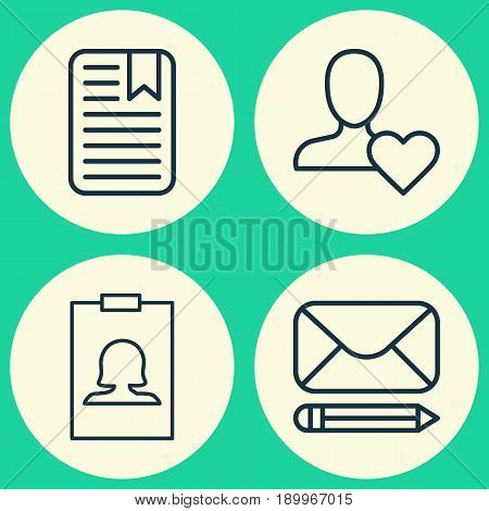 Social Icons Set. Collection Of Badge, Edit Mail, Note Page And Other Elements. Also Includes Symbols Such As Identity, Mail, User.