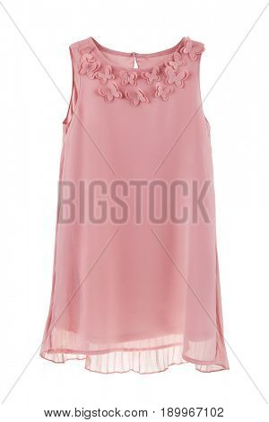 Romantic chiffon dress with pleated back and butterflies, clothes for children, pink dress for little girls isolated on white background
