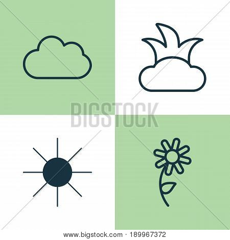 World Icons Set. Collection Of Bush, Cloud, Sunshine And Other Elements. Also Includes Symbols Such As Sun, Shrub, Sunshine.