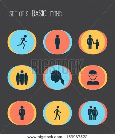 Human Icons Set. Collection Of Gentlewoman Head, Female, Jogging And Other Elements. Also Includes Symbols Such As Couple, Team, Member.