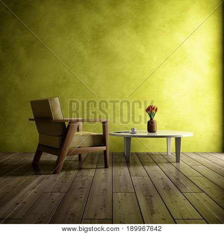Bright interior of room with armchair and coffee table. 3D illustration.