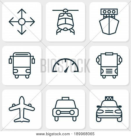 Transportation Icons Set. Collection Of College Transport, Taxi, Transport And Other Elements. Also Includes Symbols Such As Yacht, Car, Speedometer.