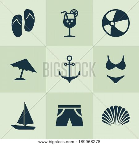 Icons Set. Collection Of Forceps, Ship, Smelting And Other Elements. Also Includes Symbols Such As Ball, Sea, Underwear.