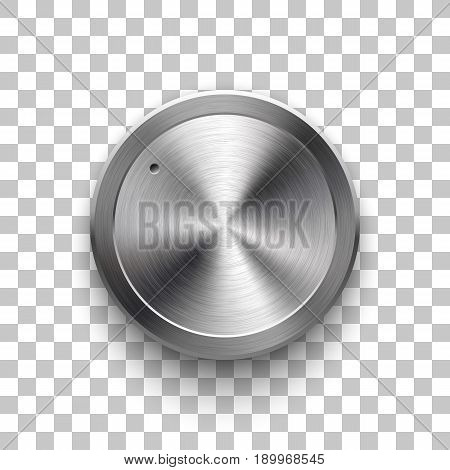 Audio volume knob, technology music button template, with metal circular brushed texture, chrome, silver, steel and realistic shadow for design concepts, web, interfaces, UI, apps. Vector Illustration