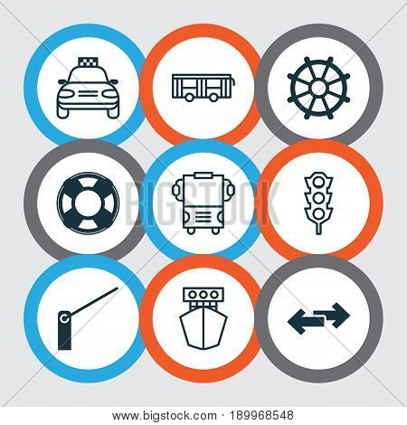 Delivery Icons Set. Collection Of Navigation Arrows, Stoplight, Car Vehicle And Other Elements. Also Includes Symbols Such As Barrier, Ship, Car.