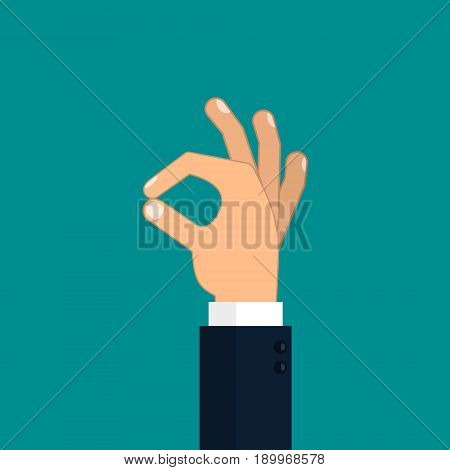 Okay hand icon vector color isolated ok illustration.