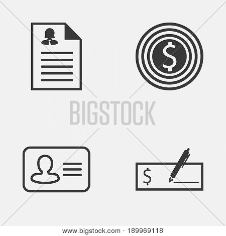 Resources Icons Set. Collection Of Business Goal, Personal Badge, Bank Payment And Other Elements. Also Includes Symbols Such As Female, Dollar, Check.