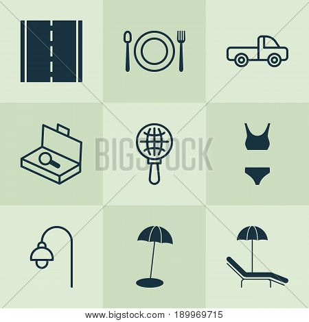 Tourism Icons Set. Collection Of Lamppost, Bathing Costume, Eating And Other Elements. Also Includes Symbols Such As Light, Lamppost, Chair.