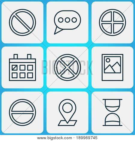 Network Icons Set. Collection Of Exit, Image, Obstacle And Other Elements. Also Includes Symbols Such As Picture, Message, Positive.