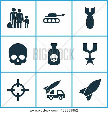 Army Icons Set. Collection Of Fugitive, Ordnance, Cranium And Other Elements. Also Includes Symbols Such As Tank, Poison, Dynamite.