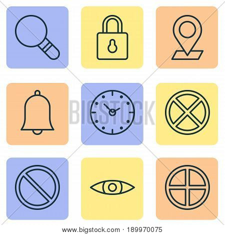 Icons Set. Collection Of Glance, Time, Alert And Other Elements. Also Includes Symbols Such As Time, Block, Lock.